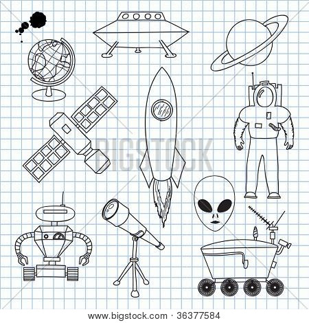 Vector illustration on Space Objects