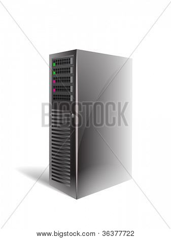 Vector server case isolated on white