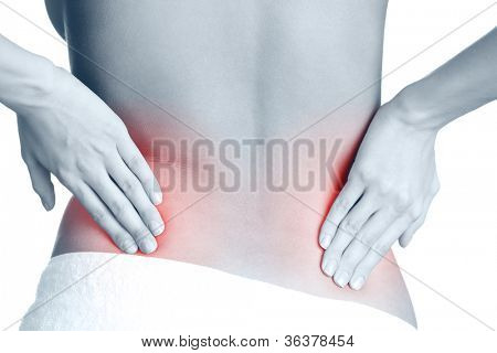Awful backache, isolated, white background. Black-and-white, monochrome