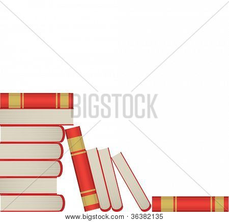Pile of books in red cover on white background