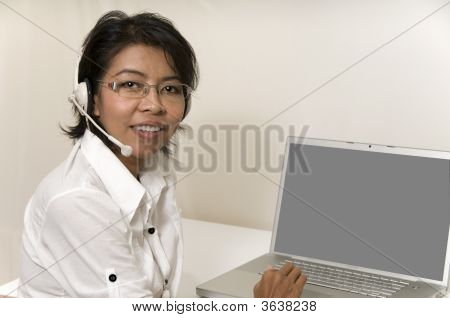 Secretary And Computer With White Screen