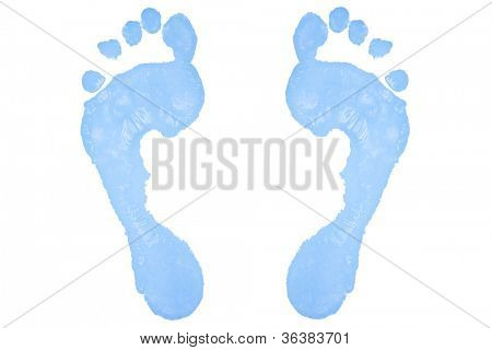 Two blue footprints against a white background