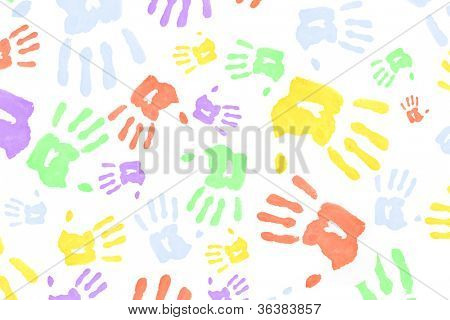 Colorful hand prints against a white background