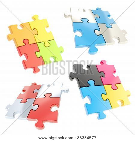 Set Of Four Linked Jigsaw Puzzle Pieces Isolated