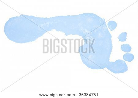 One horizontal blue foot print against a white background