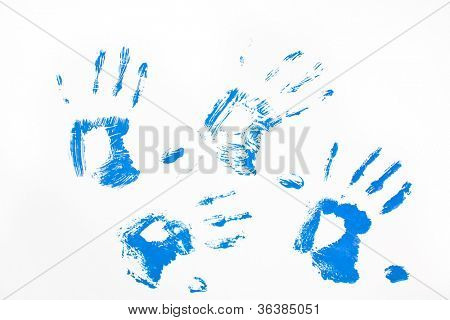 Four blue hand prints against a white background