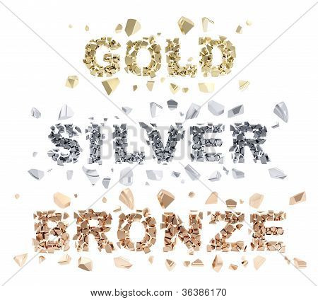 Gold, Silver, Bronze Words Broken Into Shiny Pieces