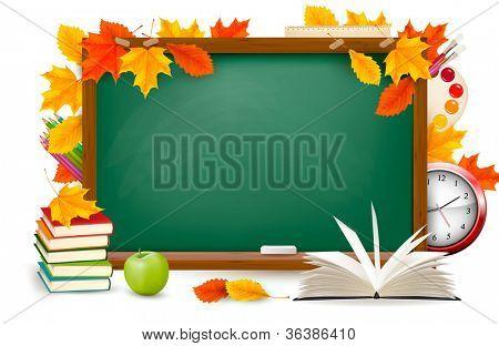 Zurück zur Schule. Grünen Schreibtisch mit Schulmaterial und Herbstlaub. Vektor.