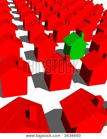 Green House With Red Houses