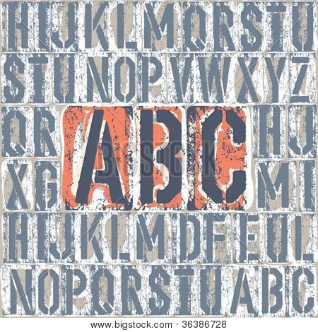 Vintage letterpress printing blocks alphabet. Grouped separately, vector, EPS8