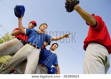Baseball player arguing with opposing team member