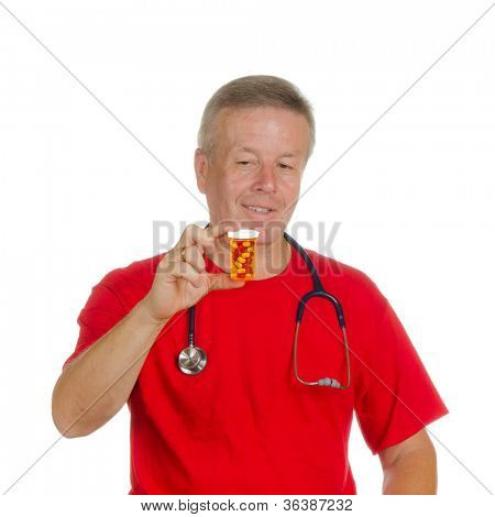 Medicine pills. Doctor giving / showing medical pill isolated on white background.