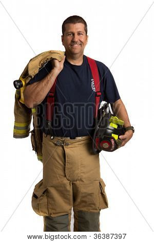 Firefighter Off Duty Standing portrait isolated on white Background