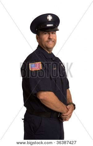 Uniformed Firefighter Standing Half Body Length Portrait Isolate on Withe Background