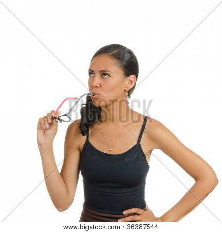 A girl with eyeglasses. Isolated on white. Body language. Indecision. Uncertainty.
