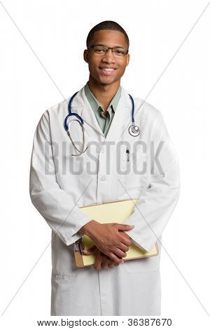 African American Doctor Holding Notepad Smiling on Isolated White Background
