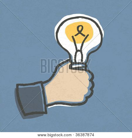 Businessman with Idea Bulb. Hand-drawn. Raster version, vector file available in portfolio.
