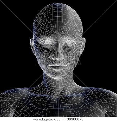 Hohe Auflösung-Konzept oder konzeptionelle 3D Drahtmodell menschlicher weiblichen Kopf auf schwarzen Hintergrund als isoliert