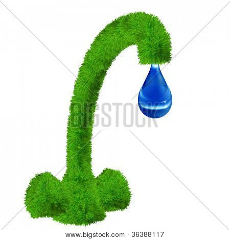 High resolution concept or conceptual green fresh grass tap with blue water drop falling isolated on white background as a metaphor to environment,ecology ,drink,nature,liquid,precious,recycle or eco