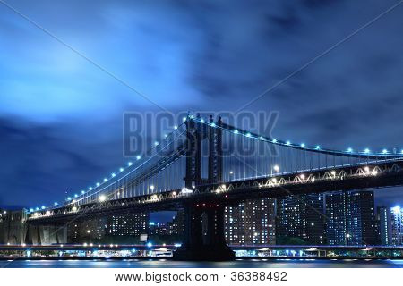 Manhattan Bridge and skyline At Night, New York City