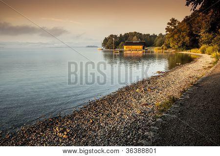 An image of a beautiful sunrise at Starnberg Lake
