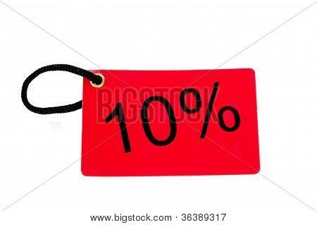 Ten Percent Red Paper Tag