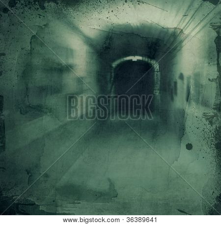 Grunge textured retro collage - Dark scarry hallway