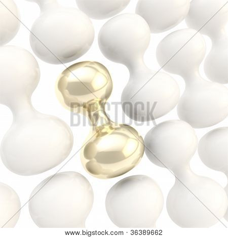 White Glossy Plastic And Golden Abstract Shapes