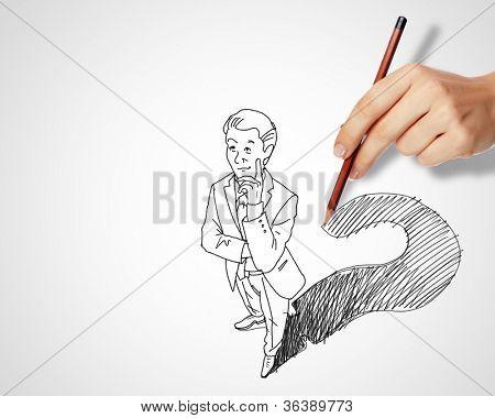 Bleistiftzeichnung mit Fragen und Herausforderungen in der Wirtschaft