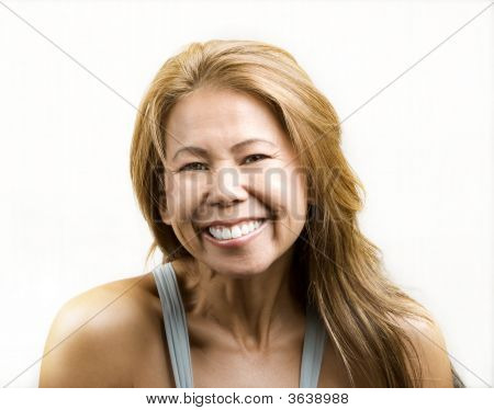Ethnic Woman On White Background