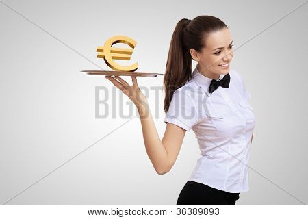 Waitress holding a tray with money on it