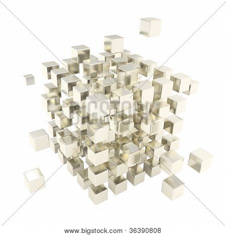 Abstract Backdrop Made Of Chrome Cube Composition