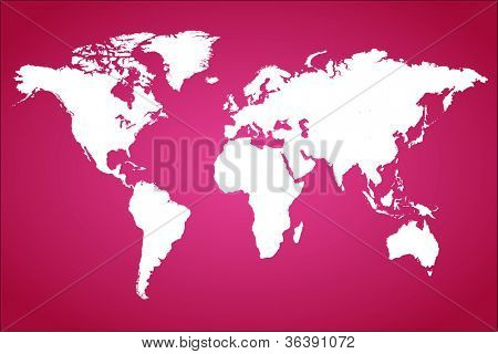 Pink World Map Vector Illustration