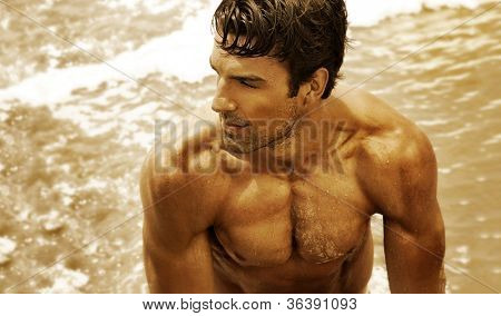 Golden toned fine art portrait of a beautiful muscular young man in the ocean