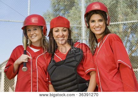 Group of young female softball players