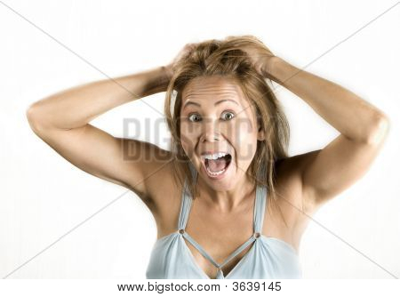 Ethnic Woman Pulling Her Hair