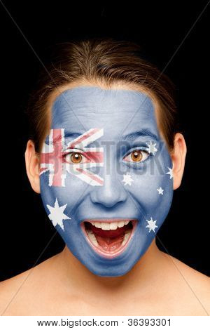 portrait of girl with australian flag painted on her face