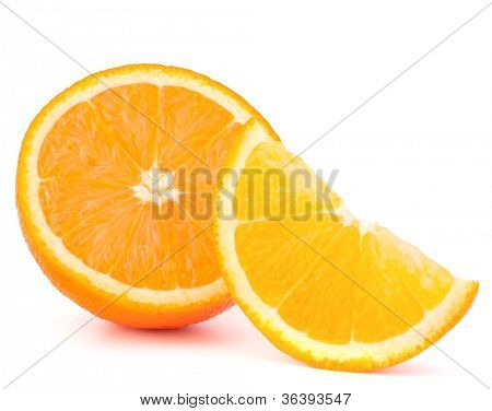 Orange fruit half and segment or cantle isolated on white background cutout