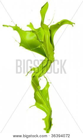 Isolated shot of green paint splash in flower shape on white background