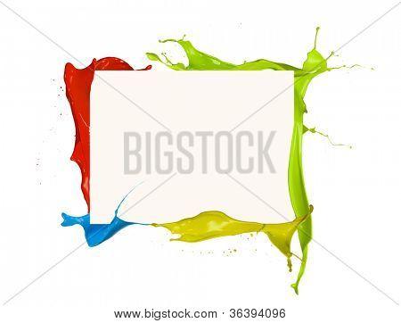 Isolated shot of colored paint frame splash on white background