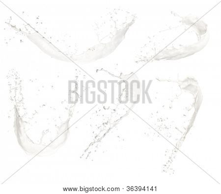 Set of milk splashes, isolated on white background