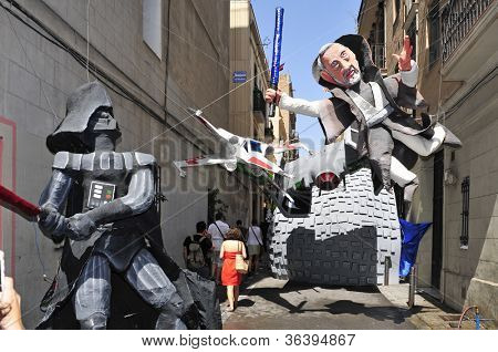 BARCELONA, SPAIN - AUGUST 17: Progres Street garnished during Festes de Gracia on August 17, 2012 in Barcelona, Spain. In this festival of Gracia District there is a contest for the best garnished street