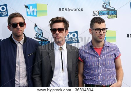 Los Angeles - AUG 19:  Andrew Dost, Nate Ruess and Jack Antonoff of the band fun arrives at the 2012 Do Something Awards at Barker Hanger on August 19, 2012 in Santa Monica, CA
