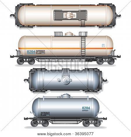 Railroad Gasoline and Oil Tanks. Set of Detailed Vector Illustration.