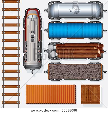 Abstract Railroad Cargo Train. Detailed vector Illustration Include: Locomotive, Oil Tank, Refrigerated Van, Freight Flat Wagon, Boxcar. Top View Position