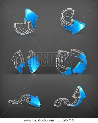 Arrows set, vector drawing