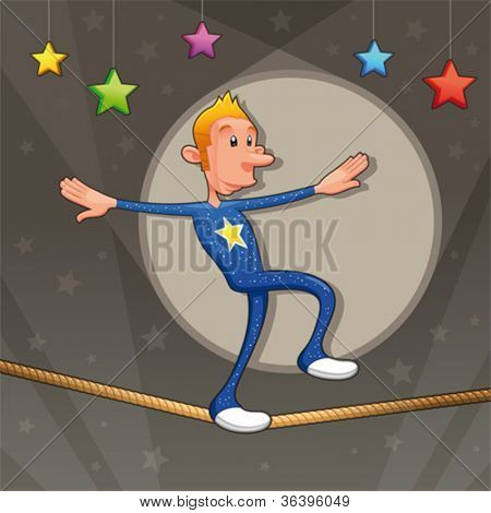 Funny equilibrist is walking on the tightrope. Cartoon and vector illustration.