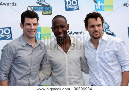 Los Angeles - AUG 19:  Max Greenfield, Lamorne Morris and Jake M. Johnson arrive at the 2012 Do Something Awards at Barker Hanger on August 19, 2012 in Santa Monica, CA