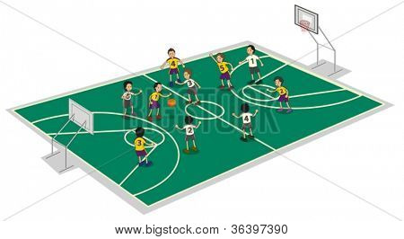 illustration of boys playing basket ball on ground