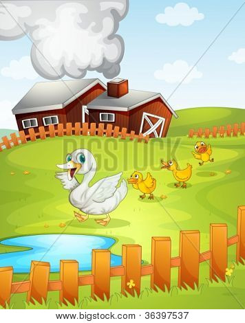 illustration of ducks and ducklings in nature